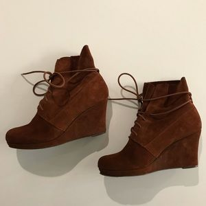 Sole Society ankle tie suede boots
